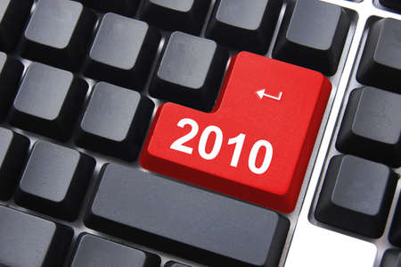 celebrate the new year 2010 with computer enter button                                    Stock Photo - 5609936