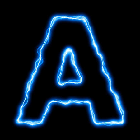 electric blue: electric lightning or flash font with blue letters on black Stock Photo