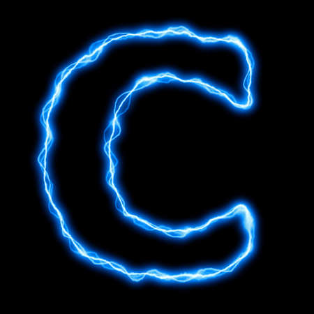electric lightning or flash font with blue letters on black photo
