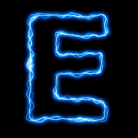 electric lightning or flash font with blue letters on black Stock Photo - 5633747