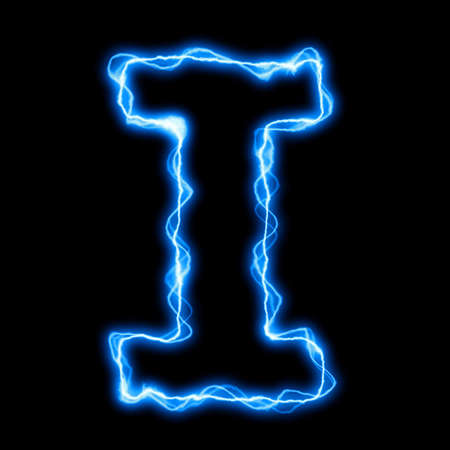 electric lightning or flash font with blue letters on black Stock Photo