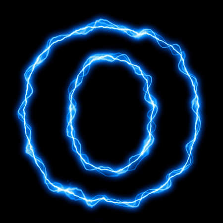 electric lightning: electric lightning or flash font with blue letters on black Stock Photo
