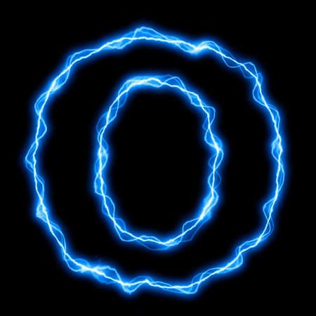 rayo electrico: rayos el�ctricos o fuente flash con letras azules sobre negro