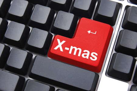 mas: xmas christmas or x mas concept with computer button