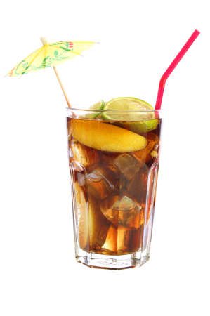 ice lemon tea: long island iced tea isolated on white                                      Stock Photo