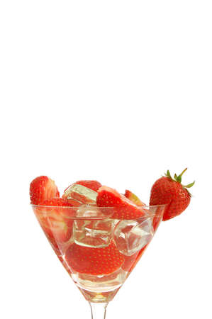 healthy drink with sliced strawberry fruit isolated on white                                     photo