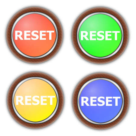 reset button collection isolated on white background photo