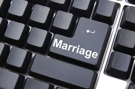 hitched: marry your internet date concept with computer button