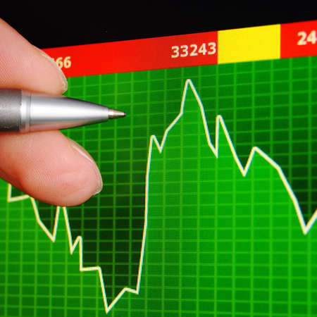 global investing: stock exchange concept showing success in finance                                     Stock Photo