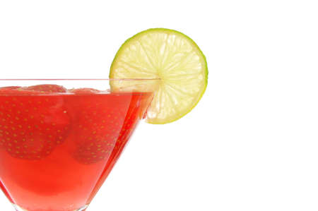 red strawberry cocktail party drink isolated on white background                                   photo