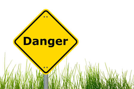 danger road traffic sign with copyspace for text message                                    photo