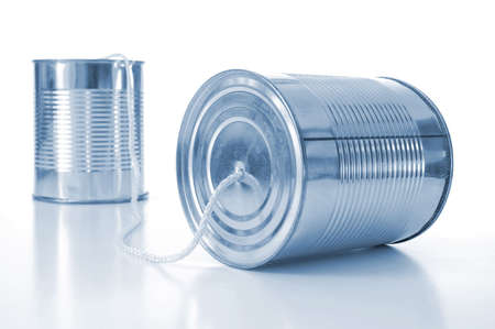 contact info: ton can phone showing business communication concept                                     Stock Photo