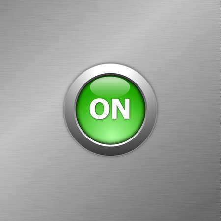 green on button on a metal background photo