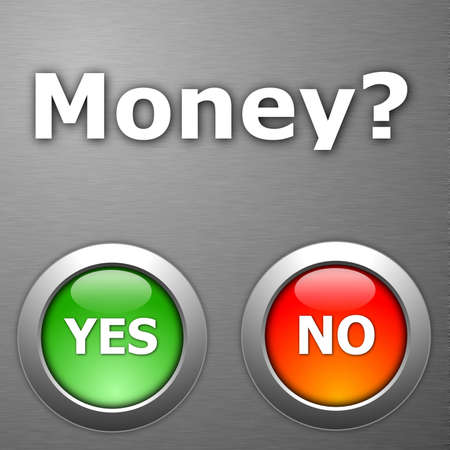 money and yes no botton on metal Stock Photo - 5752162