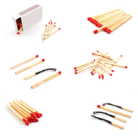 match and matchbox still life collection in white background Stock Photo - 5816055