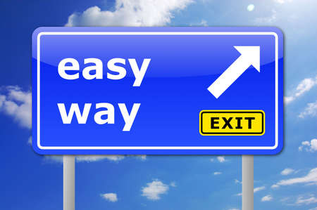 easy: the easy way concept with traffic sign in blue Stock Photo