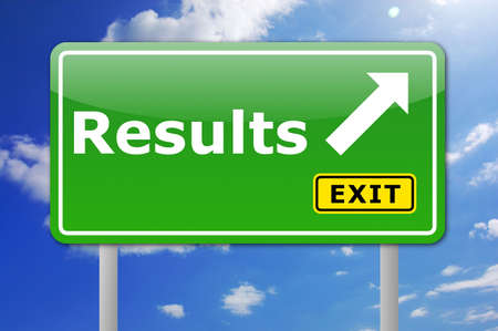 outcome: business results concept with road sign illustration