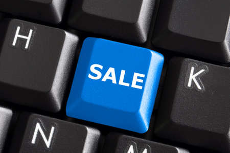 sale business or ecommerce concept with blue keyboard Stock Photo - 5838049