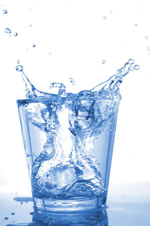 Water glass: fresh water in glass with ice cubes Stock Photo