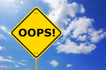 oops written on a yellow road traffic sign                                     Stock Photo - 5837999