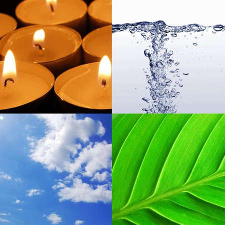 cuatro elementos: los cuatro elementos agua de viento y el fuego de la tierra Foto de archivo