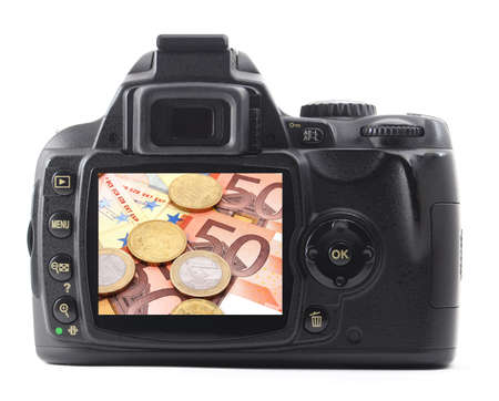 digicam: digicam or dslr with money isolated on white background
