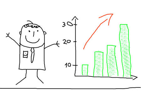 sales chart: business man illustration with positive chart showing success Stock Photo
