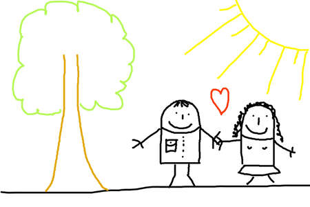 illustration of happy young couple in love Stock Illustration - 5881990