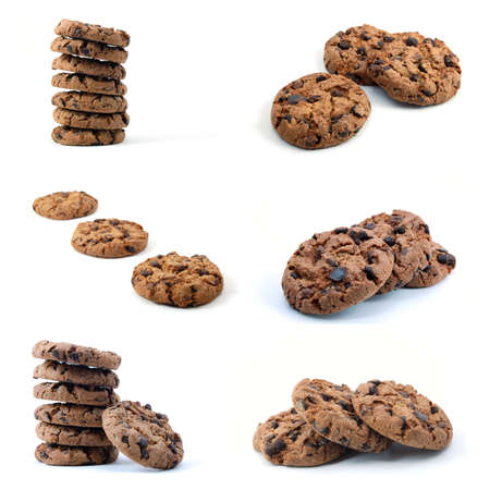 cookie or cake collection isolated on white background photo