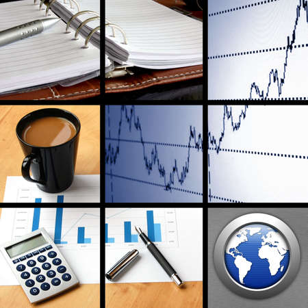 collage with success business and financial images  photo