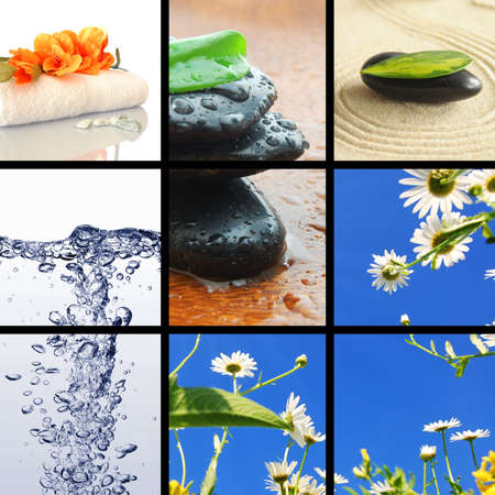 spa collage or collection with stone candle and water images photo