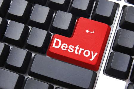 dangerous destroy button on black computer keyboard