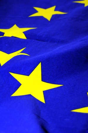 eu or european union flag in blue with yellow stars                                photo