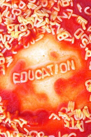school education concept with red pasta alphabet Stock Photo - 5923588