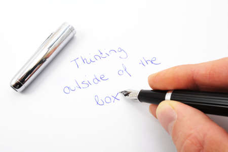 think outside of the box concept with pen and paper Stock Photo - 5923600
