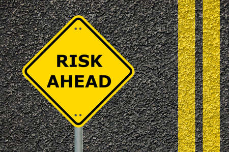 risk ahead sign showing business concept with copyspace                                     photo