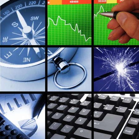 technology collage: collection or collage of finance or business images Stock Photo
