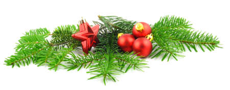 mas: christmas holiday decoration in green and red with copyspace