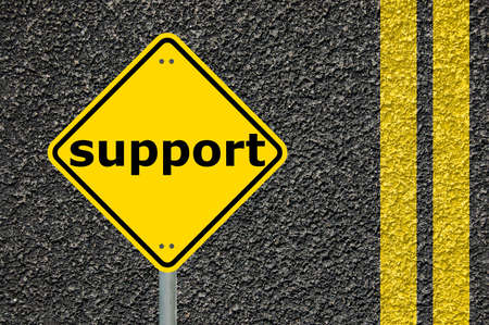 support concept with yellow traffic sign showing help an assistance Stock Photo - 5934986