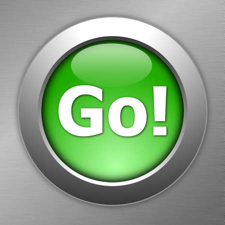 行き: 金属のテクスチャに緑の移動ボタン 写真素材