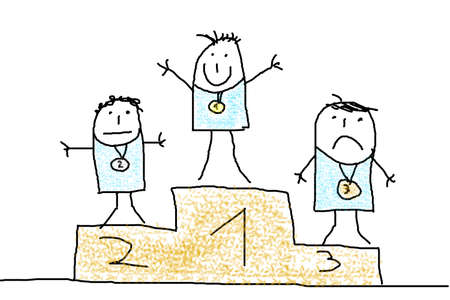 winners podium: illustration of sports man on podium with medal Stock Photo