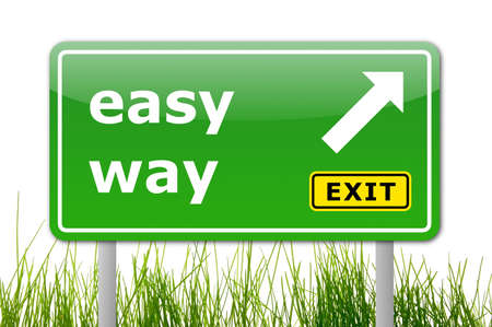 green easy way road sign with arrow and exit text photo