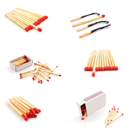 matches and matchbox collection isolated on white background photo