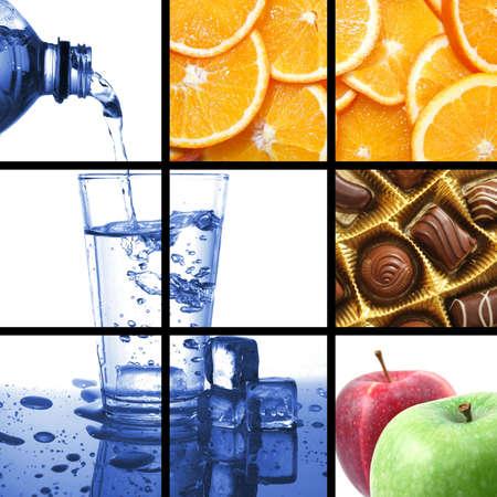 cibo e bevande collage o raccolta mostrando healthy lifestyle Archivio Fotografico