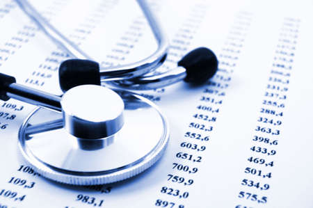 stethoscope and scientific medical data showing research concept photo