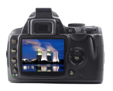 digicam: dslr or digicam and industry isolated on white background                    Stock Photo