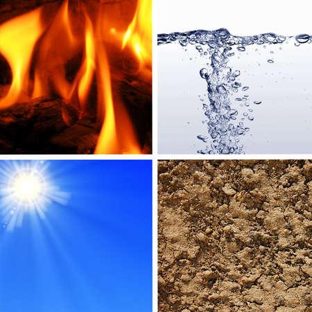 cuatro elementos: cuatro elementos b�sicos de la naturaleza con eart, agua, viento y fuego Foto de archivo