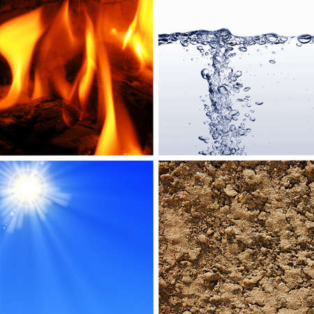 four basic elements of nature with eart, water, wind and fire photo