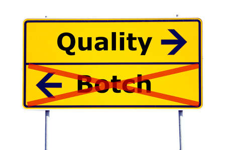 botch: quality or botch business concept with yellow road sign                                     Stock Photo