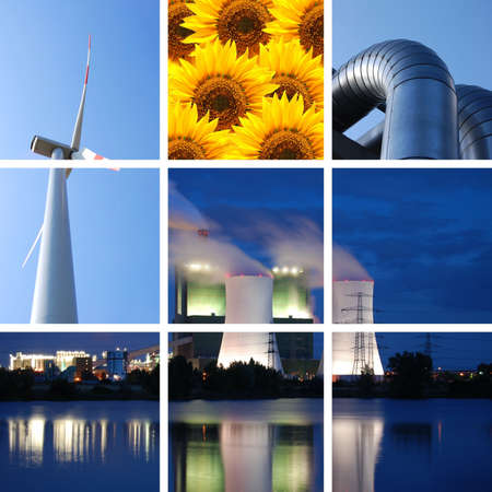 power supply collage with plant and windturbine Stock Photo